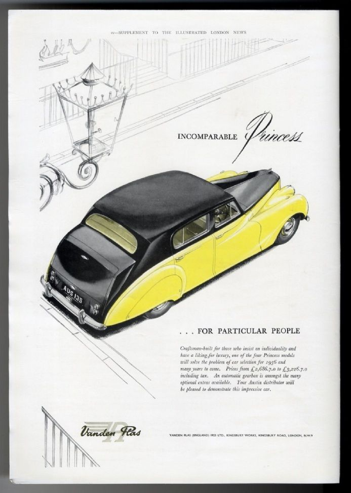 1956 Print VANDEN PLAS PRINCESS Car Advert MADAME FAVERT by Van Loo COLOUR